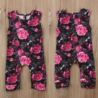 Newborn Floral Baby Girl Romper Bodysuit Jumpsuit Outfit Sunsuits Clothes US