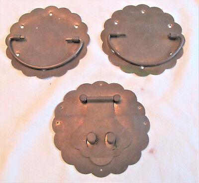 """Vintage Brass Asian Trunk Double Hook / Latch & Two 4 5/8"""" Drawer Pulls"""