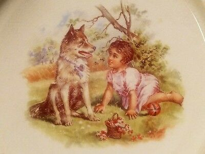 """Antique 1905 """"Royal Baby Plate"""" Dog w/Child- Stoneware Bowl-Exceptional Graphics"""