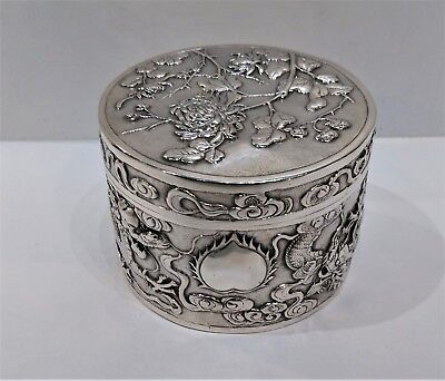 Antique Chinese Silver Round Box, Gilt Lined, Dragons/chrysanths Shanghai C.1900