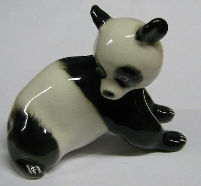 Vintage Lomonosov styel ceramic Panda cub figurine - made in USSR