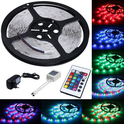 5 m RGB LED Strip Leiste Streifen Band Lichter SMD Lichterkette Lichtband 3528