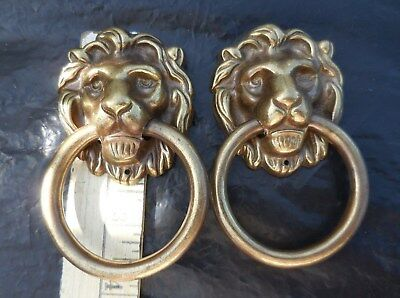 "2 Large Solid Brass Drawer 2"" Ring Knocker Pulls Cabinet Handle LION Face HEAD"