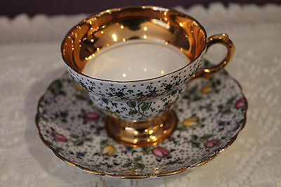 Beautiful Rosina England Teacup And Saucer - June #4974 - Heavy Gold Trim