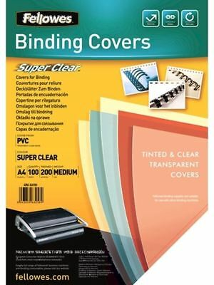 Fellowes A4 Clear PVC Binding Covers 200 Micron 100 Pack 5376102