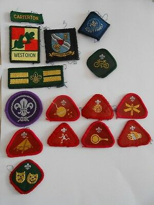 lot of 15  boy scouts  cloth patches carterton west oxon ect  lot B