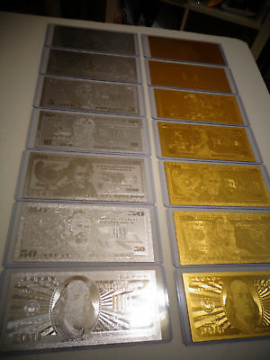 14 -Gold + Silver Dollar Bill Set $1-2-5-10-20-50-100 & Each In Pvc Bill Holder