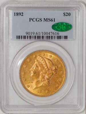 1892 $20 Gold Liberty #10047616 MS61 PCGS ~ CAC