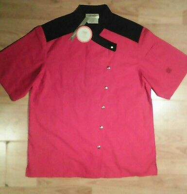 NEW Cook Cool by Happy Chef shirt womens M short sleeve red black NWT