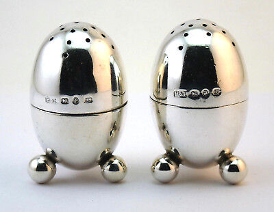 c1889, PAIR ANTIQUE VICTORIAN SOLID SILVER NOVELTY EGG FORM PEPPERS PEPPERETTES