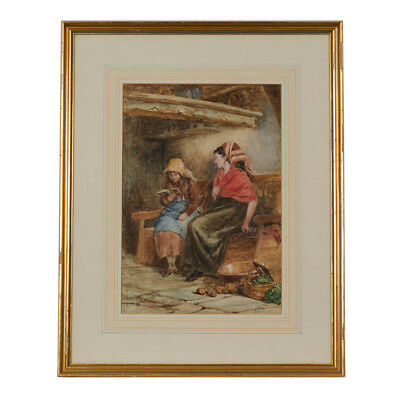 Robert Gallon Story Time Framed Watercolour 1877