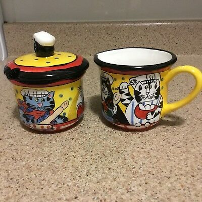 Cats Collectible Creamer and Covered Sugar Bowl Set CATZILLA Candace Reiter 2002