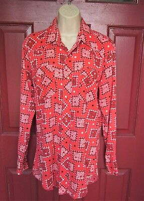 """Vintage Hipster Red """"patches"""" Pearl Snap Western Shirt by Wrangler"""