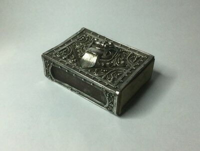 Unusual Elaborate Vintage Asian Silver Matchbox Cover Demon Head
