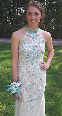 Ivory/Turquoise Size 2 Panoply Prom Dress