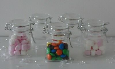 Mini Small Clear Glass Clip Lid Bottles Jars Party Sweets Wedding Table Favours