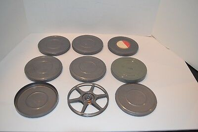 Set of 7 8mm Camera Film 200' Metal Reels and Containers