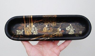 Antique Oriental Chinese Japanese Pen Stand Desk Tidy Hand Painted Garden Scene