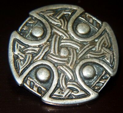 Rare Scottish Solid Silver Celtic Pin Brooch GP&S 1930s IONA A.RITCHIE DESIGN ?