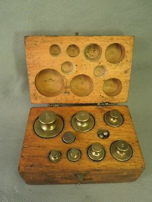 Brass Pharmaceutical Scientific Scale Weights & Balls in Wooden Case - Vintage