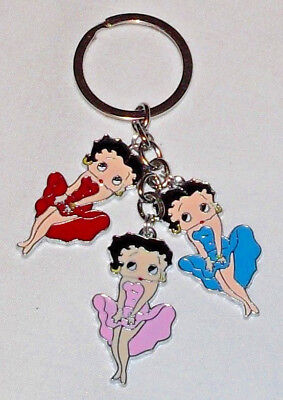 Betty Boop Keychain/Keyring Marilyn Pose Red Blue Pink Handcrafted