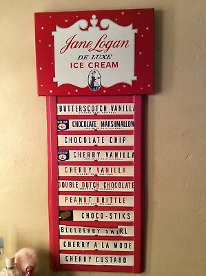 Vintage Metal Jane Logan Ice Cream Menu Sign - Very Good Cond.