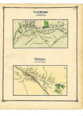 1875 Map of East Burke & Wheelock villages, Vermont from Atlas of Caledonia Co