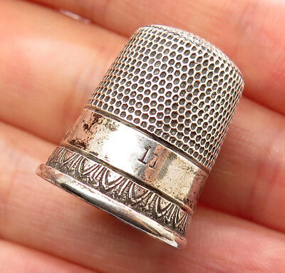 Antique Victorian Signed 925 Sterling Silver Thimble Size 11