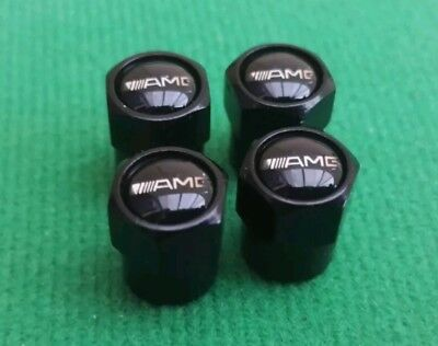 Mercedes Amg Black Wheel Tyre Valve Dust Caps Covers A B C Class Sl Slk C63 A45