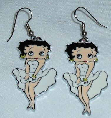 Betty Boop White Earrings  Marilyn Pose Handcrafted Free Shipping within the USA