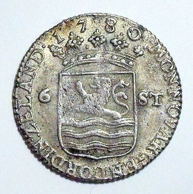 NETHERLANDS - ZEELAND - 6 Stuivers 1780 - Silver - Great Condition - NR