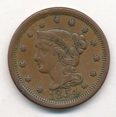 1854 Braided Hair Large One Cent Exact Coin Shown Opens @ .99C - Free Shipping