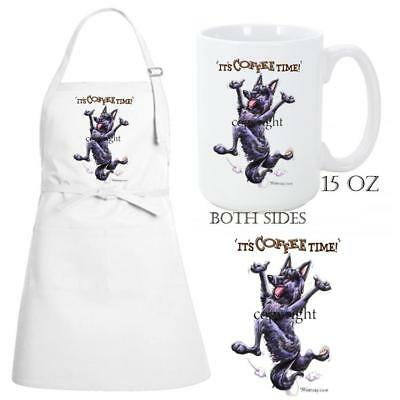 Belgian Sheepdog Dog Breed Coffee Time Kitchen Chef Apron & Ceramic Mug Gift Set