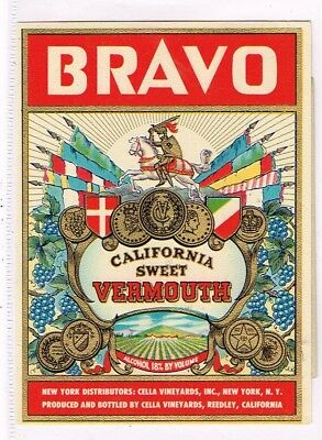 1930s California Reedley Cella BRAVO SWEET VERMOUTH WINE label