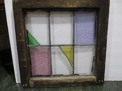 ANTIQUE SALVAGED WOOD Frame Stained Glass Window Hanging - $75.00 ...
