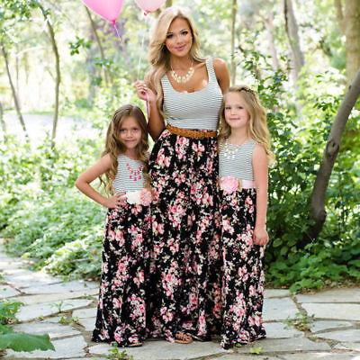 US SELLER Mother and Daughter Casual Boho Stripe Dress Mommy&Me Matching Outfits