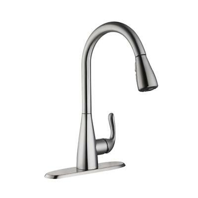 GLACIER BAY Carla Single-Handle Pull-Down Sprayer Faucet Stainless ...