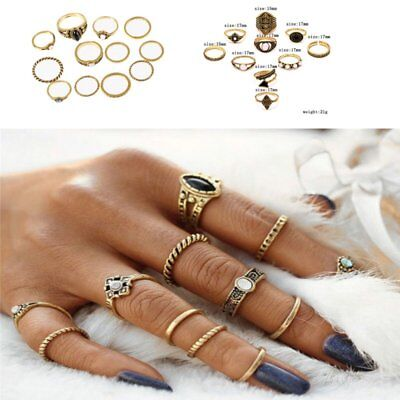 8-12 Pcs/set Midi Finger Ring Set Vintage Punk Boho Knuckle Rings Jewelry Hot