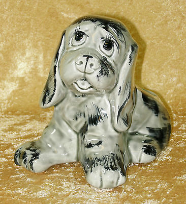 Rare Vintage American Bisque Grey & Black Puppy Dog Planter