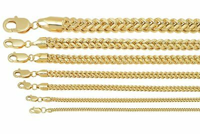 "Brand New 10k Yellow Gold Franco Chain Necklace 1.5mm-6mm Sz 16"" - 40"""
