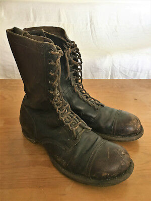 Vtg 1940's WWII US Army Airborne Size 12 D Paratrooper Jump Boots Brown Cap Toe