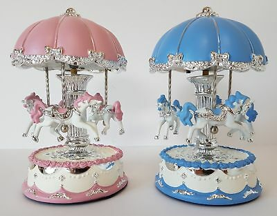 Musical Carousel LED Light Up Blue/Silver or Pink/Silver Russell Collection