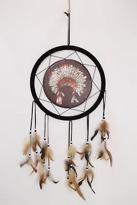 Native American Indian Head Dress Tribal Design Dreamcatcher 33 cm Diameter