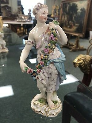 Antique Early Meissen Marked Porcelain Figure Romantic Woman With Flower Wreath