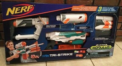 NERF N-Strike Modulus Tri-Strike Blaster Kids Toy Soft Foam Dart Gun Set NEW NIB