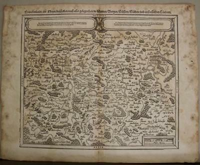 Franconia Germany 1614 Sebastian Münster Unusual Antique Original Woodcut Map