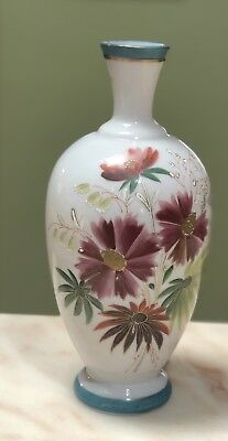 Antique Victorian Milk Art Glass Vase With Enamelled Flowers C1880