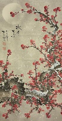 "CHINESE HANGING SCROLL ""Moon and Ume Tree in Snow""  @e491"