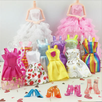 20 Items 10Pcs Fashion Wedding Gown Dresses Clothes 10 Shoes For Barbie Dolls