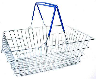 2 Handle Blue Wire Shopping Basket Retail Supermarket Use Hand Carry Mesh